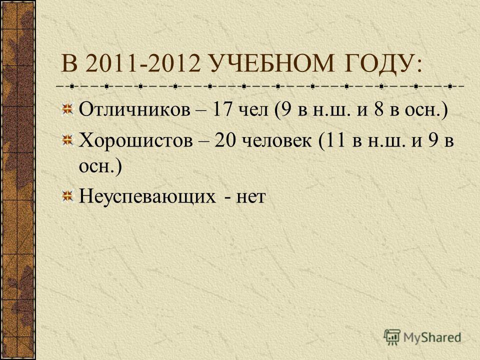 В 2011-2012 УЧЕБНОМ ГОДУ: Отличников – 17 чел (9 в н.ш. и 8 в осн.) Хорошистов – 20 человек (11 в н.ш. и 9 в осн.) Неуспевающих - нет