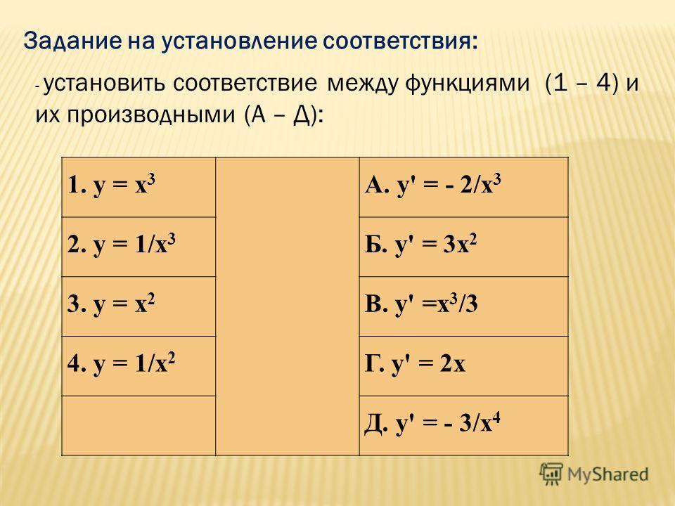 Задание на установление соответствия: 1. y = x 3 A. y' = - 2/x 3 2. y = 1/x 3 Б. y' = 3x 2 3. y = x 2 В. y' =x 3 /3 4. y = 1/x 2 Г. y' = 2x Д. y' = - 3/x 4 - установить соответствие между функциями (1 – 4) и их производными (А – Д):