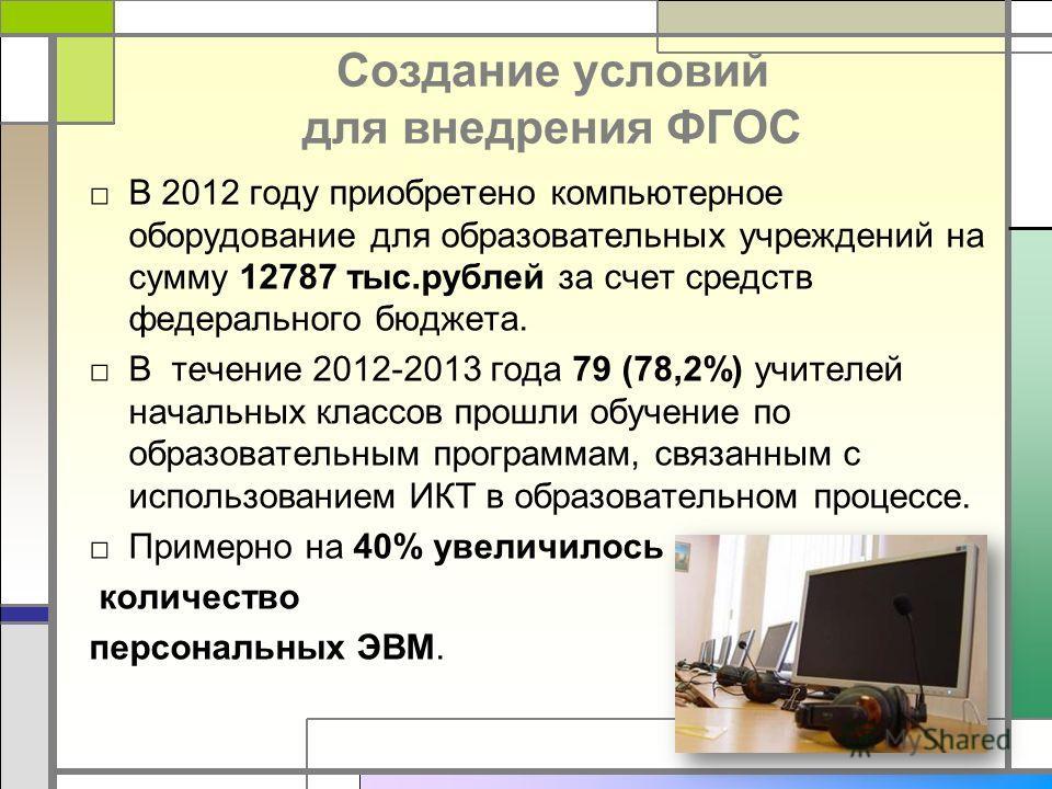 Создание условий для внедрения ФГОС В 2012 году приобретено компьютерное оборудование для образовательных учреждений на сумму 12787 тыс.рублей за счет средств федерального бюджета. В течение 2012-2013 года 79 (78,2%) учителей начальных классов прошли