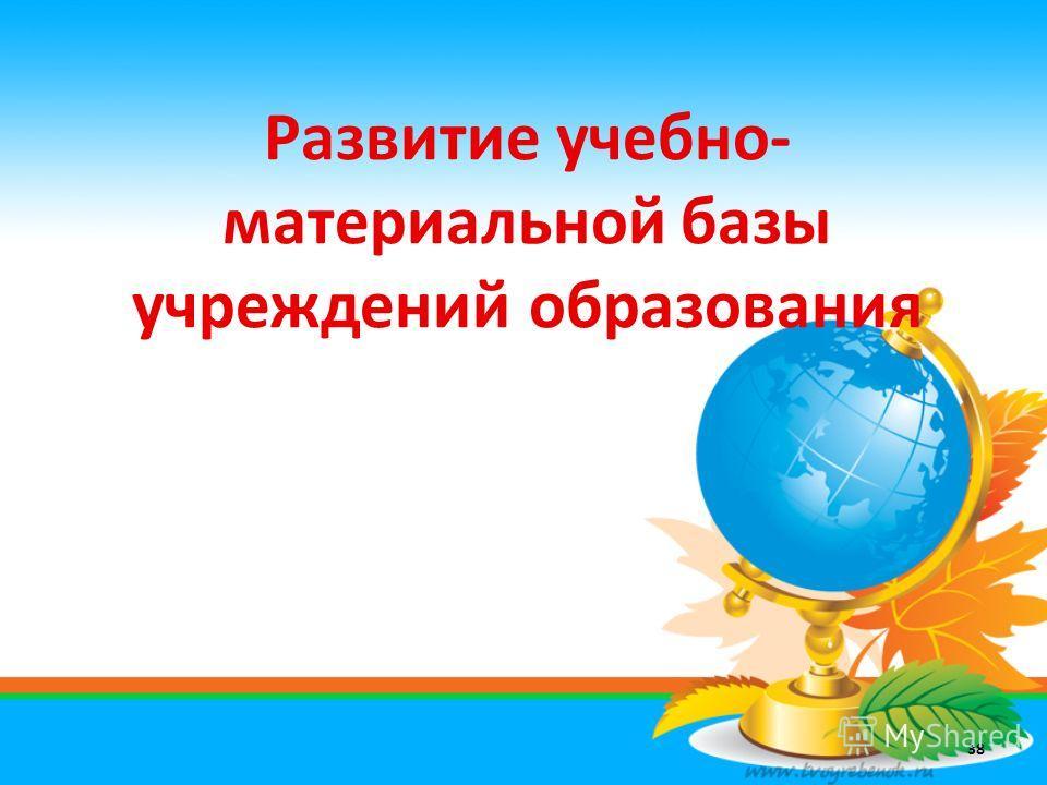Развитие учебно- материальной базы учреждений образования 38