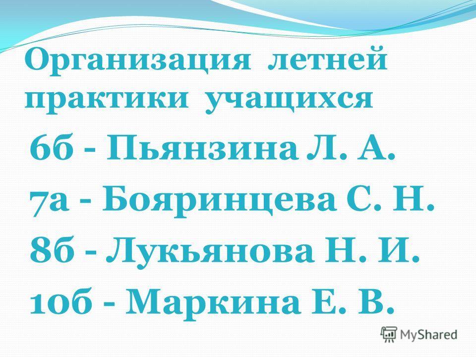 Организация летней практики учащихся 6б - Пьянзина Л. А. 7а - Бояринцева С. Н. 8б - Лукьянова Н. И. 10б - Маркина Е. В.