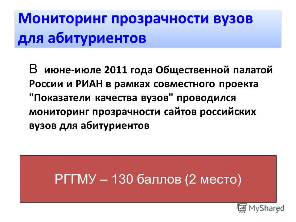 4 В июне-июле 2011 года Общественной палатой России и РИАН в рамках совместного проекта
