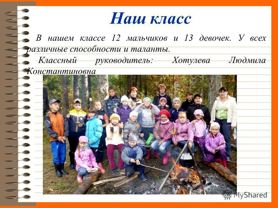 Наш класс В нашем классе 12 мальчиков и 13 девочек. У всех различные способности и таланты. Классный руководитель: Хотулева Людмила Константиновна