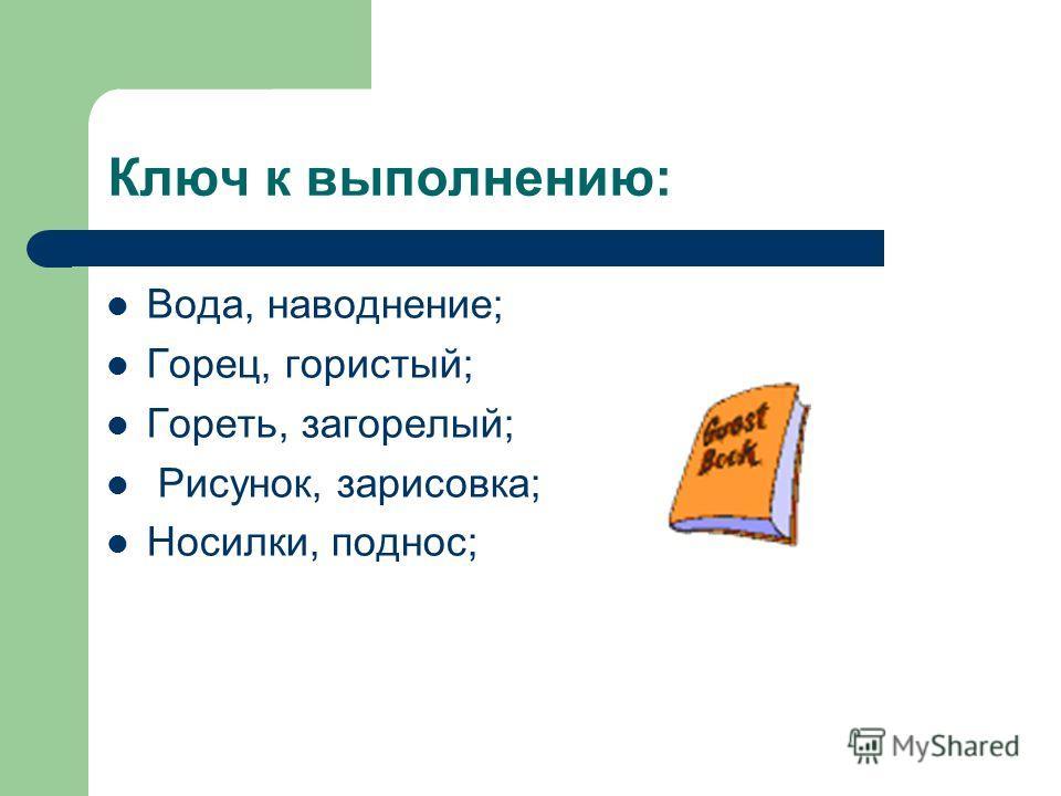 Ключ к выполнению: Вода, наводнение; Горец, гористый; Гореть, загорелый; Рисунок, зарисовка; Носилки, поднос;