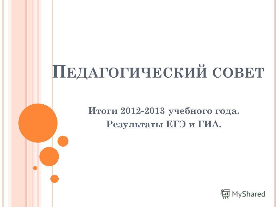 П ЕДАГОГИЧЕСКИЙ СОВЕТ Итоги 2012-2013 учебного года. Результаты ЕГЭ и ГИА.