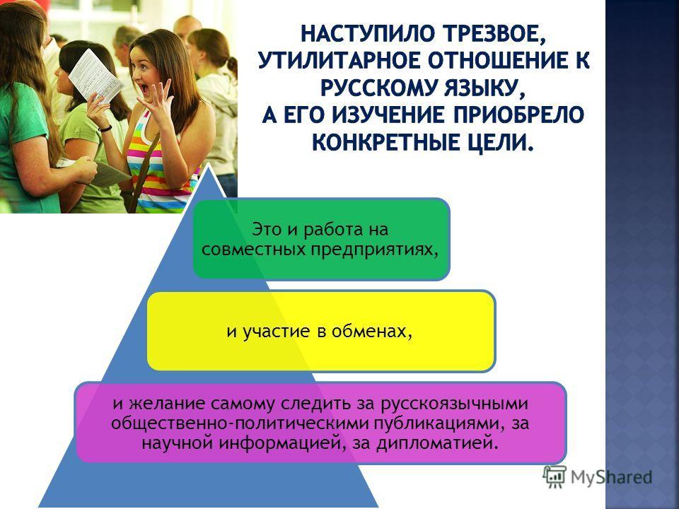 Это и работа на совместных предприятиях, и участие в обменах, и желание самому следить за русскоязычными общественно-политическими публикациями, за научной информацией, за дипломатией.