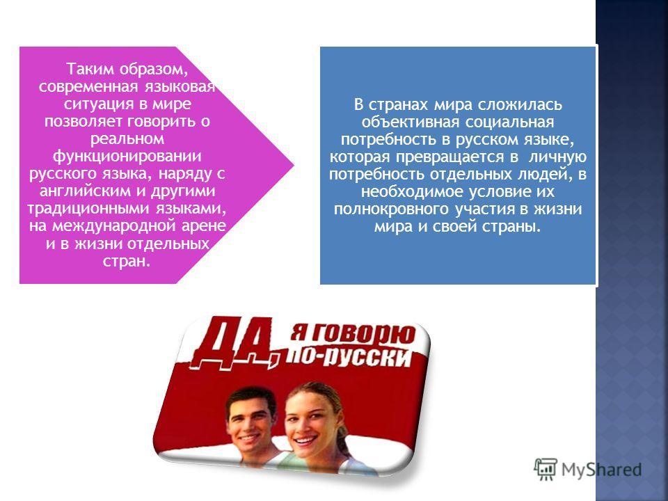 Таким образом, современная языковая ситуация в мире позволяет говорить о реальном функционировании русского языка, наряду с английским и другими традиционными языками, на международной арене и в жизни отдельных стран. В странах мира сложилась объекти