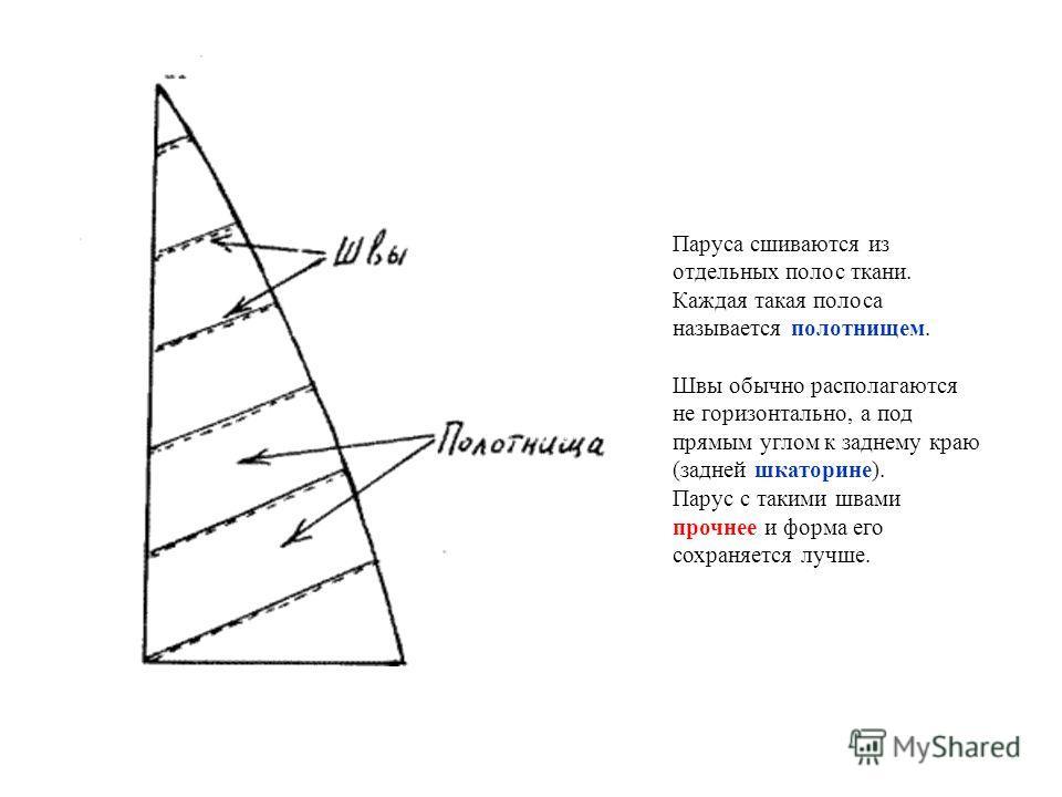 Паруса сшиваются из отдельных полос ткани. Каждая такая полоса называется полотнищем. Швы обычно располагаются не горизонтально, а под прямым углом к заднему краю (задней шкаторине). Парус с такими швами прочнее и форма его сохраняется лучше.