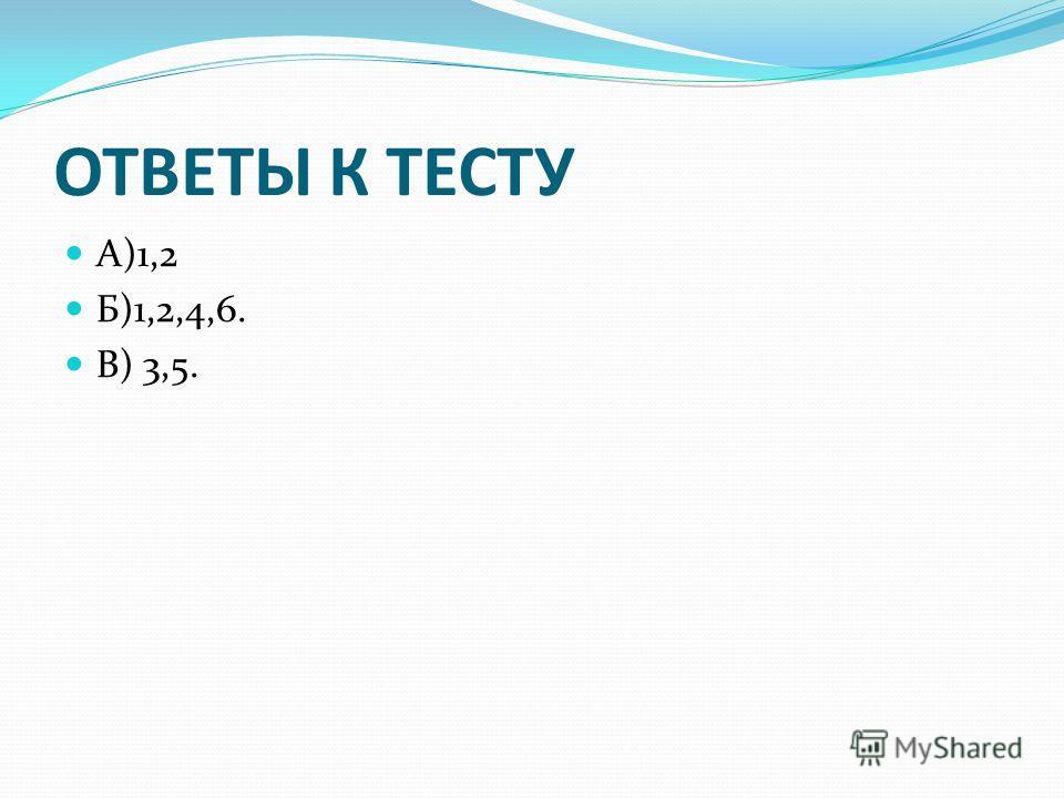 ОТВЕТЫ К ТЕСТУ А)1,2 Б)1,2,4,6. В) 3,5.