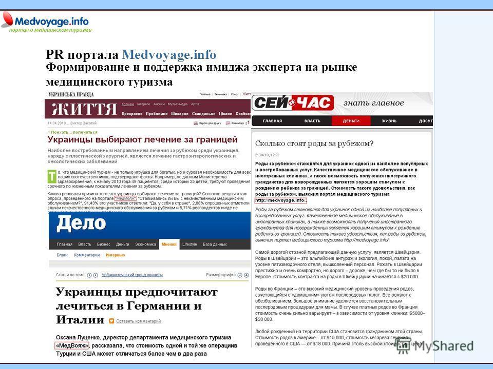 PR портала Medvoyage.info Формирование и поддержка имиджа эксперта на рынке медицинского туризма