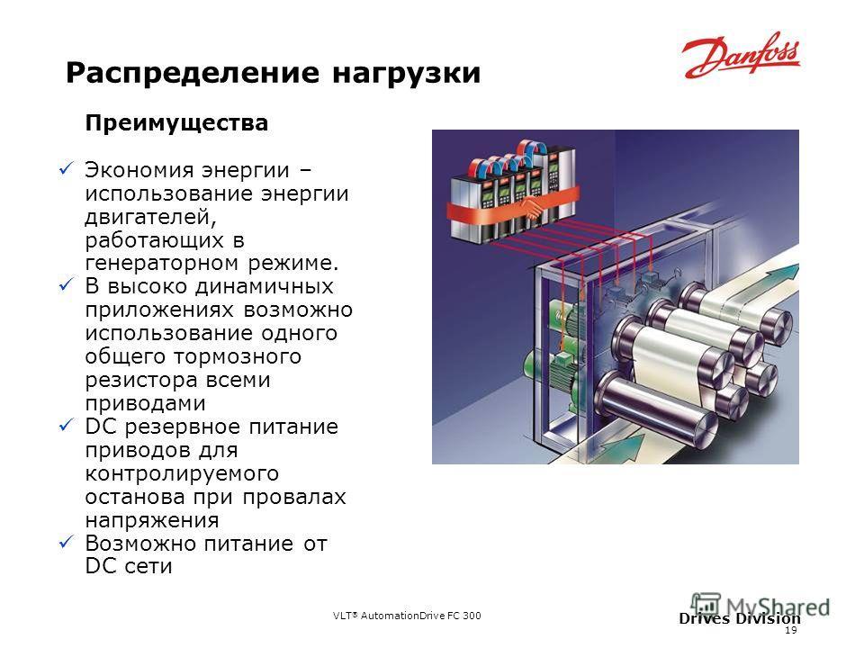 VLT ® AutomationDrive FC 300 19 Drives Division Распределение нагрузки Преимущества Экономия энергии – использование энергии двигателей, работающих в генераторном режиме. В высоко динамичных приложениях возможно использование одного общего тормозного