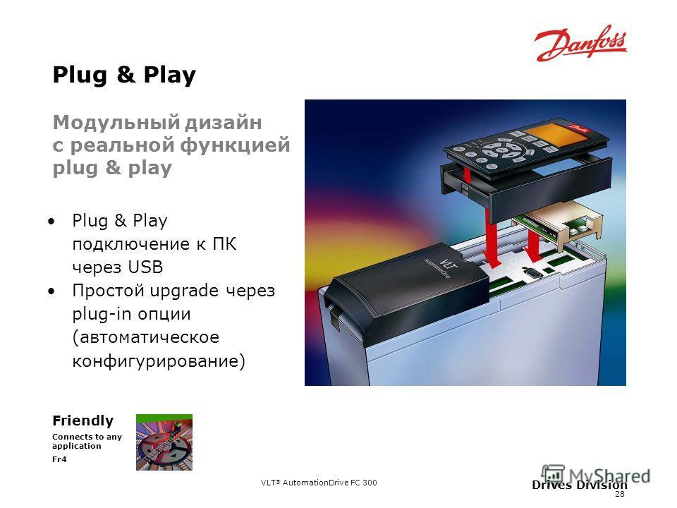 VLT ® AutomationDrive FC 300 28 Drives Division Plug & Play Friendly Connects to any application Fr4 Plug & Play подключение к ПК через USB Простой upgrade через plug-in опции (автоматическое конфигурирование) Модульный дизайн с реальной функцией plu