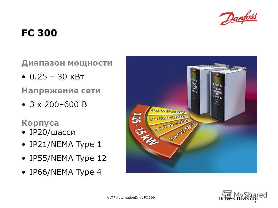 4 Drives Division FC 300 Диапазон мощности 0.25 – 30 кВт Напряжение сети 3 x 200–600 В Корпуса IP20/шасси IP21/NEMA Type 1 IP55/NEMA Type 12 IP66/NEMA Type 4