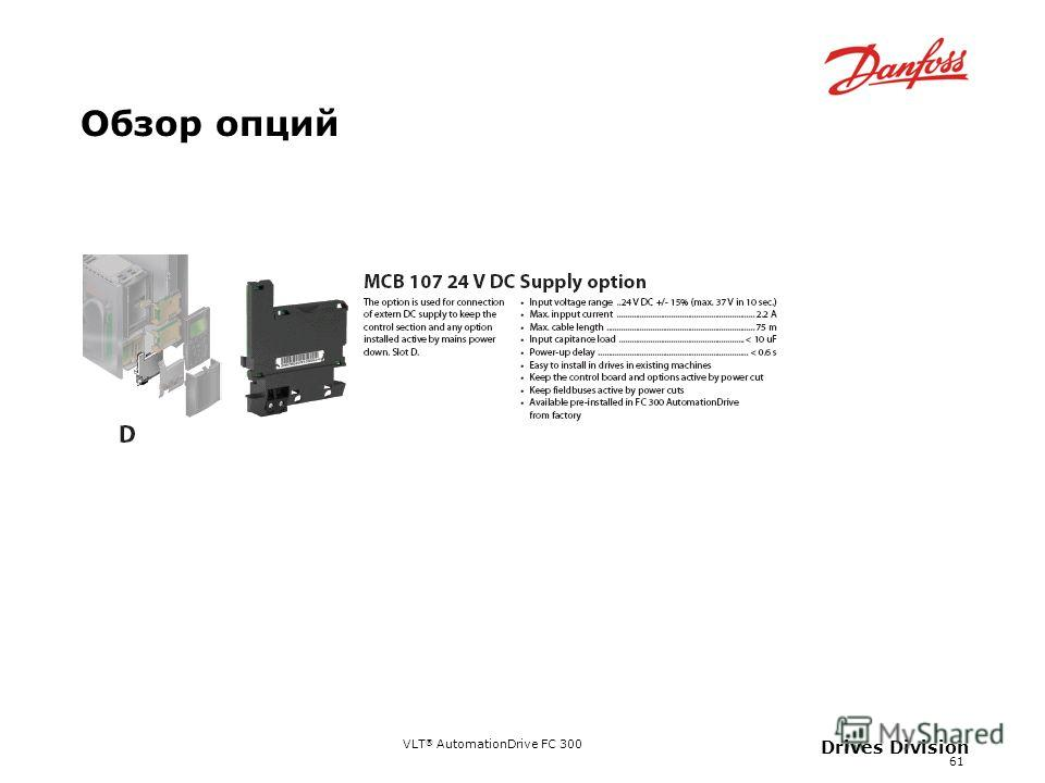 VLT ® AutomationDrive FC 300 61 Drives Division Обзор опций