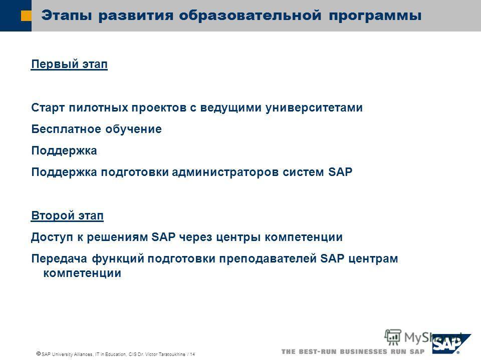 SAP University Alliances, IT in Education, CIS Dr. Victor Taratoukhine / 14 Этапы развития образовательной программы Первый этап Старт пилотных проектов с ведущими университетами Бесплатное обучение Поддержка Поддержка подготовки администраторов сист