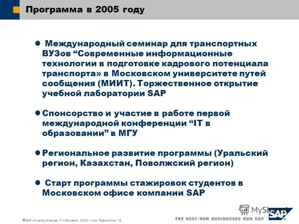 SAP University Alliances, IT in Education, CIS Dr. Victor Taratoukhine / 18 Программа в 2005 году Международный семинар для транспортных ВУЗов Современные информационные технологии в подготовке кадрового потенциала транспорта» в Московском университе