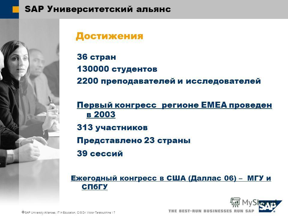 SAP University Alliances, IT in Education, CIS Dr. Victor Taratoukhine / 7 SAP Университетский альянс 36 стран 130000 студентов 2200 преподавателей и исследователей Первый конгресс регионе EMEA проведен в 2003 313 участников Представлено 23 страны 39