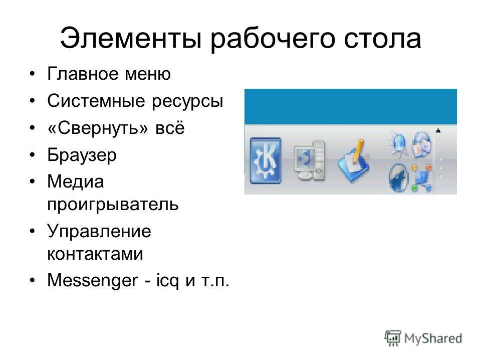Элементы рабочего стола Главное меню Системные ресурсы «Свернуть» всё Браузер Медиа проигрыватель Управление контактами Messenger - icq и т.п.