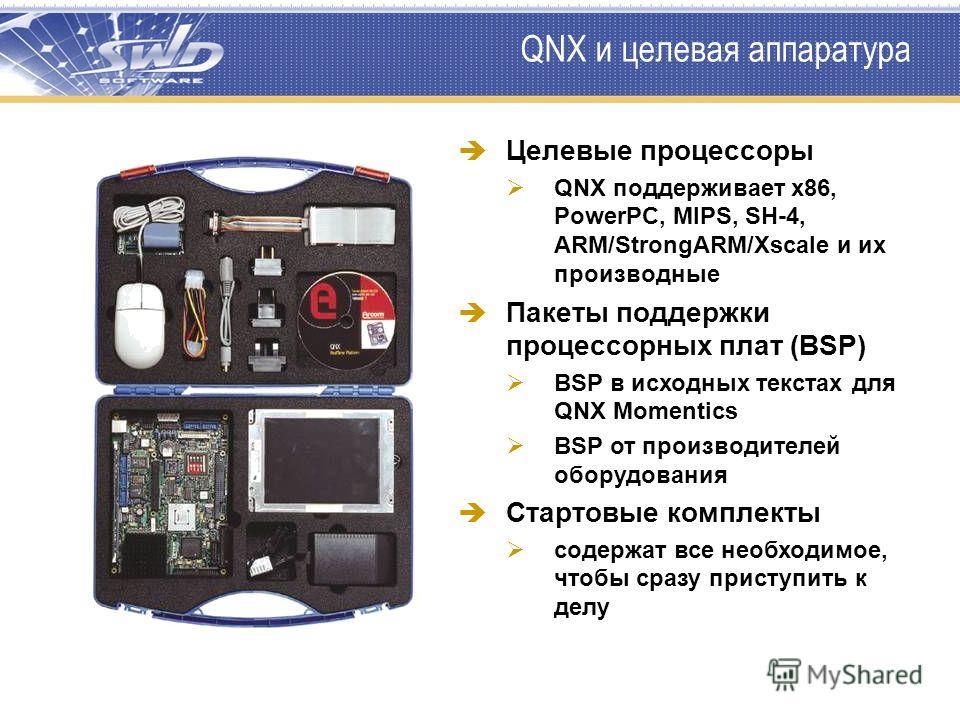 QNX и целевая аппаратура Целевые процессоры QNX поддерживает x86, PowerPC, MIPS, SH-4, ARM/StrongARM/Xscale и их производные Пакеты поддержки процессорных плат (BSP) BSP в исходных текстах для QNX Momentics BSP от производителей оборудования Стартовы
