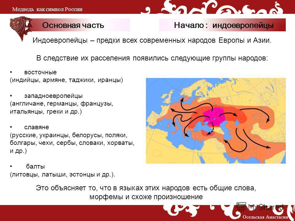 Основная часть восточные (индийцы, армяне, таджики, иранцы) западноевропейцы (англичане, германцы, французы, итальянцы, греки и др.) славяне (русские, украинцы, белорусы, поляки, болгары, чехи, сербы, словаки, хорваты, и др.) балты (литовцы, латыши,