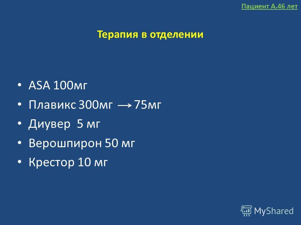 Терапия в отделении ASA 100мг Плавикс 300мг 75мг Диувер 5 мг Верошпирон 50 мг Крестор 10 мг Пациент А.46 лет