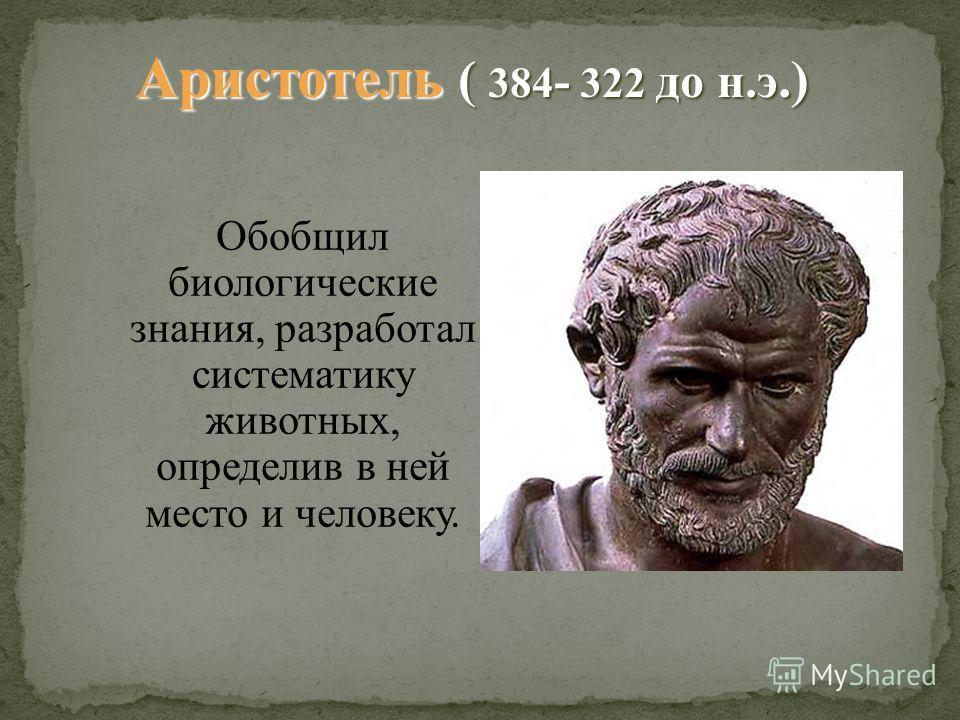 Обобщил биологические знания, разработал систематику животных, определив в ней место и человеку. Аристотель ( 384 - 322 до н.э.)