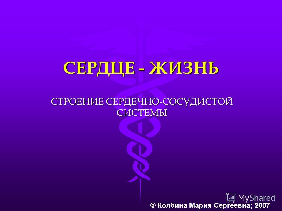 СЕРДЦЕ - ЖИЗНЬ СТРОЕНИЕ СЕРДЕЧНО-СОСУДИСТОЙ СИСТЕМЫ © Колбина Мария Сергеевна; 2007