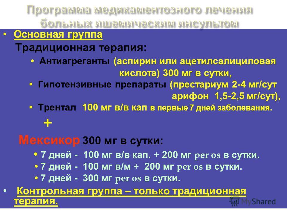 Основная группа Традиционная терапия: Антиагреганты (аспирин или ацетилсалициловая кислота) 300 мг в сутки, Гипотензивные препараты (престариум 2-4 мг/сут арифон 1,5-2,5 мг/сут), Трентал 100 мг в/в кап в первые 7 дней заболевания. + Мексикор 300 мг в