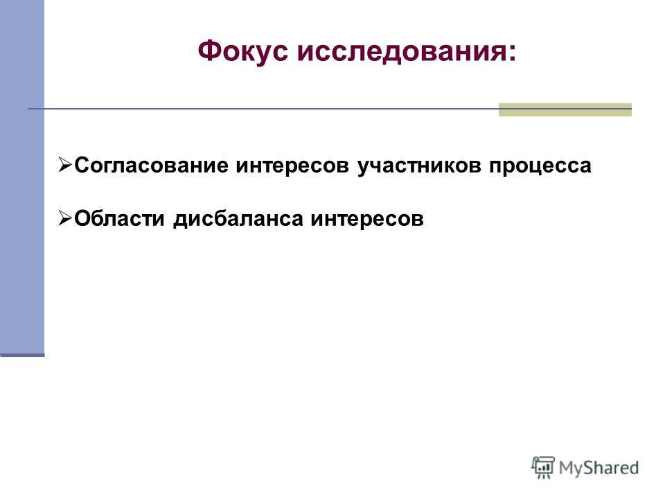 Фокус исследования: Согласование интересов участников процесса Области дисбаланса интересов