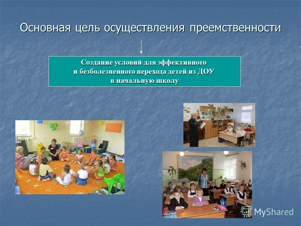 Основная цель осуществления преемственности Создание условий для эффективного и безболезненного перехода детей из ДОУ в начальную школу