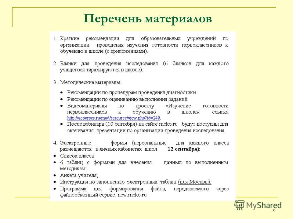6 Перечень материалов