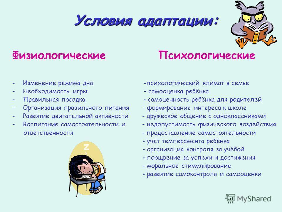 Условия адаптации: Физиологические Психологические -И-Изменение режима дня -психологический климат в семье -Н-Необходимость игры - самооценка ребёнка -П-Правильная посадка - самоценность ребёнка для родителей -О-Организация правильного питания - форм