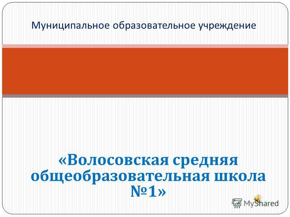 « Волосовская средняя общеобразовательная школа 1» Муниципальное образовательное учреждение
