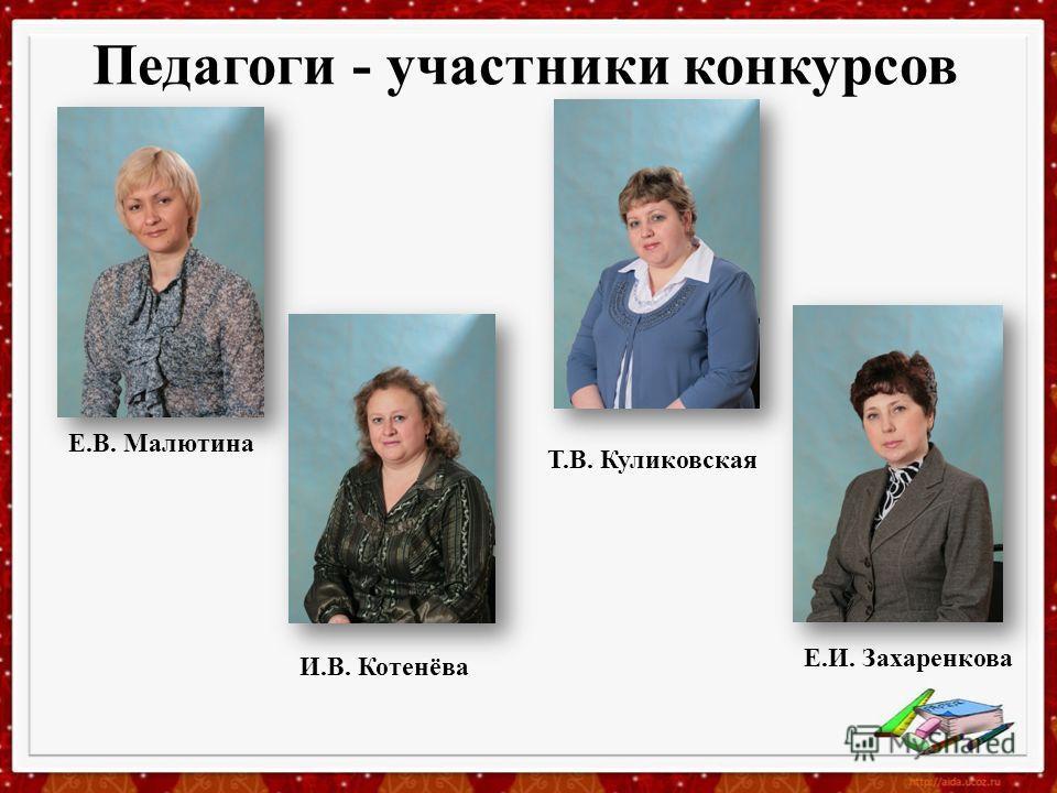 Педагоги - участники конкурсов Е.В. Малютина Т.В. Куликовская Е.И. Захаренкова И.В. Котенёва