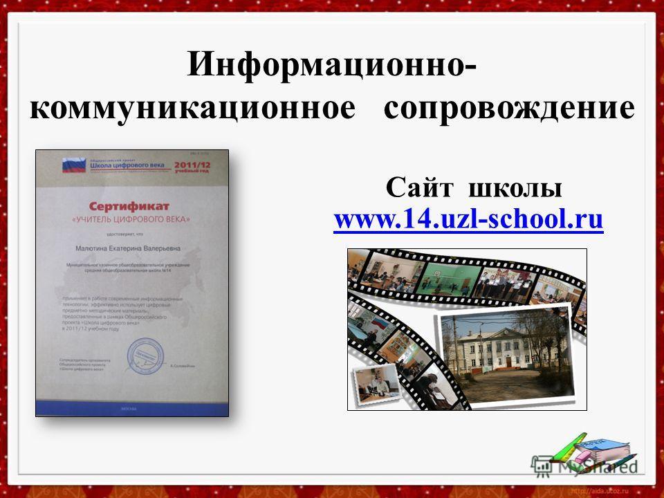 Информационно- коммуникационное сопровождение www.14.uzl-school.ru Сайт школы