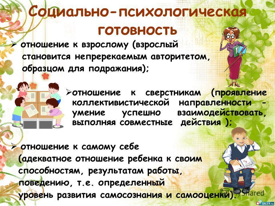 Социально-психологическая готовность отношение к взрослому (взрослый становится непререкаемым авторитетом, образцом для подражания); отношение к сверстникам (проявление коллективистической направленности - умение успешно взаимодействовать, выполняя с