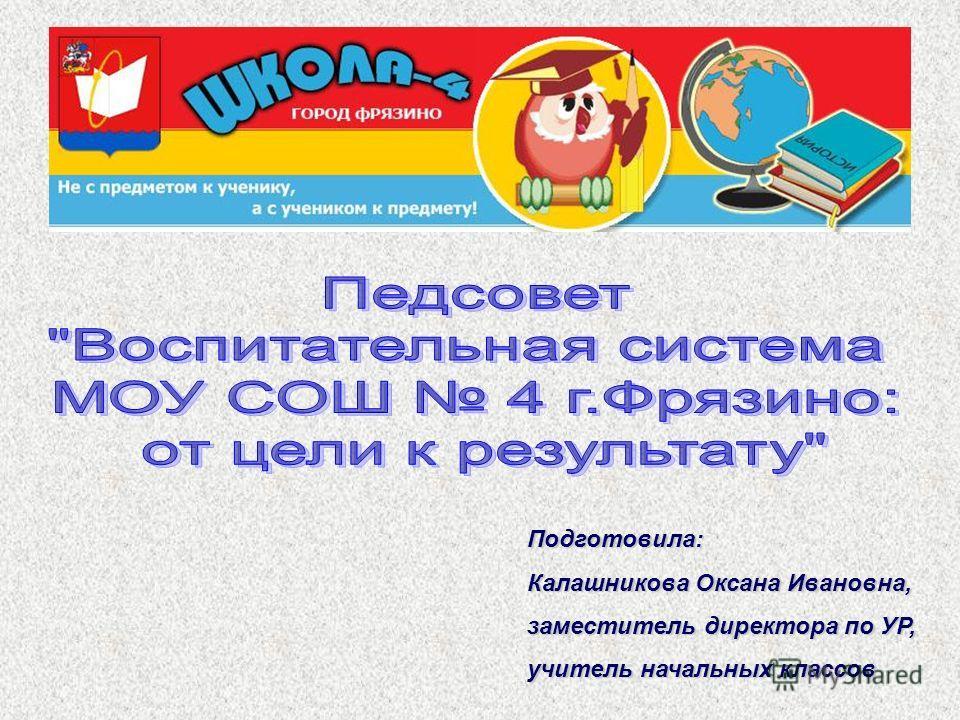 Подготовила: Калашникова Оксана Ивановна, заместитель директора по УР, учитель начальных классов