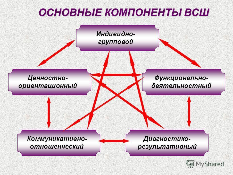 ОСНОВНЫЕ КОМПОНЕНТЫ ВСШ Индивидно- групповой Диагностико- результативный Коммуникативно- отношенческий Функционально- деятельностный Ценностно- ориентационный