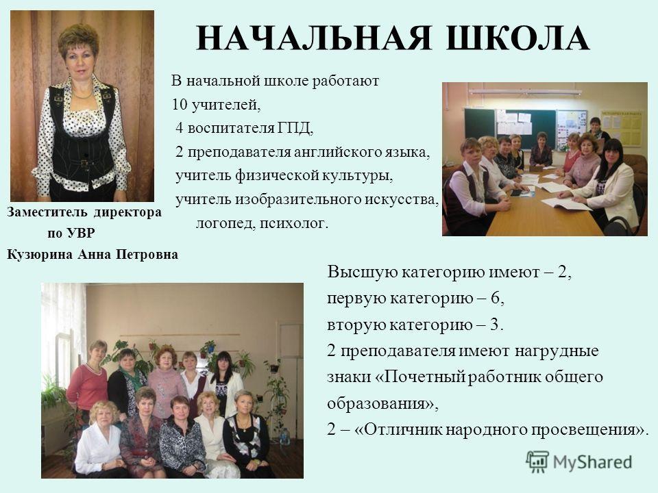 НАЧАЛЬНАЯ ШКОЛА Заместитель директора по УВР Кузюрина Анна Петровна В начальной школе работают 10 учителей, 4 воспитателя ГПД, 2 преподавателя английского языка, учитель физической культуры, учитель изобразительного искусства, логопед, психолог. Высш