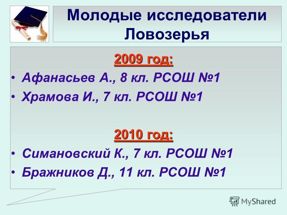 Молодые исследователи Ловозерья 2009 год: Афанасьев А., 8 кл. РСОШ 1 Храмова И., 7 кл. РСОШ 1 2010 год: Симановский К., 7 кл. РСОШ 1 Бражников Д., 11 кл. РСОШ 1
