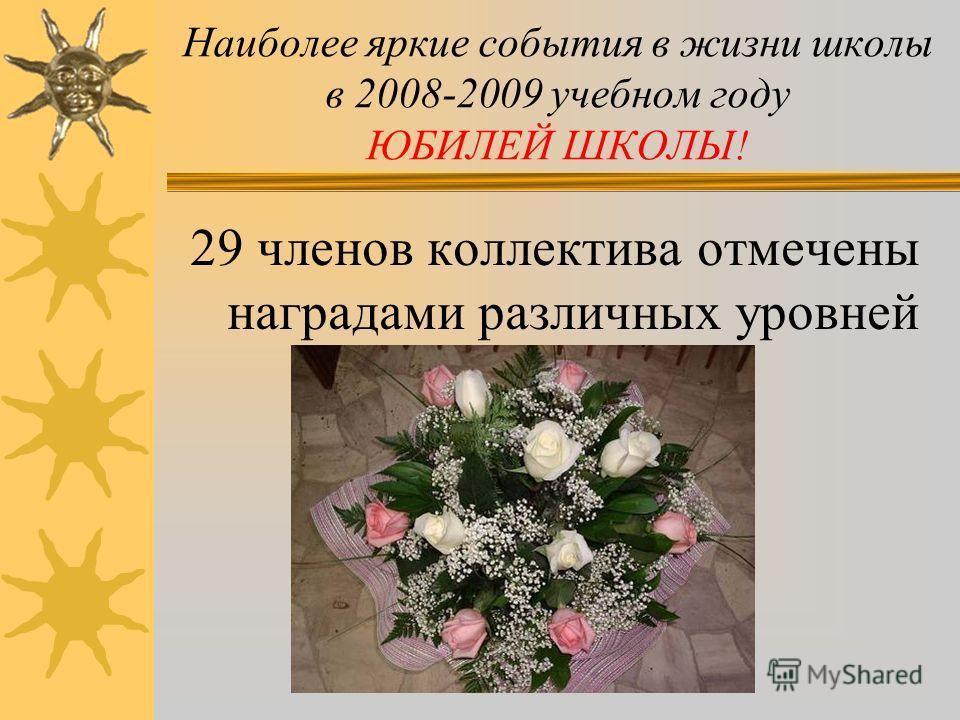 Наиболее яркие события в жизни школы в 2008-2009 учебном году ЮБИЛЕЙ ШКОЛЫ! НАМ 55 ЛЕТ!