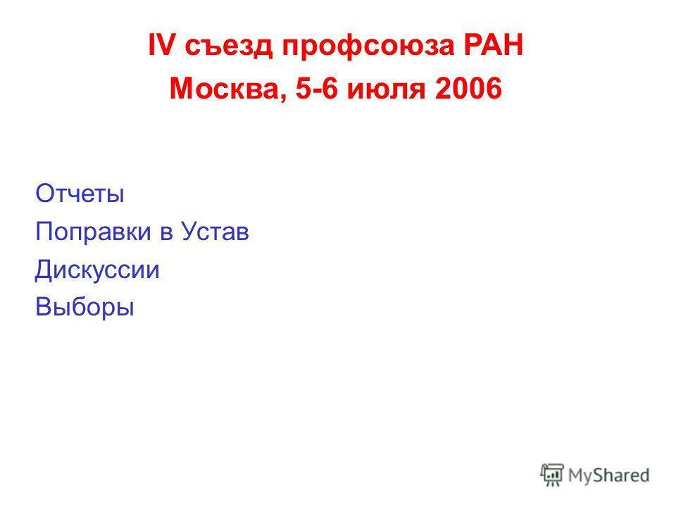 IV съезд профсоюза РАН Москва, 5-6 июля 2006 Отчеты Поправки в Устав Дискуссии Выборы