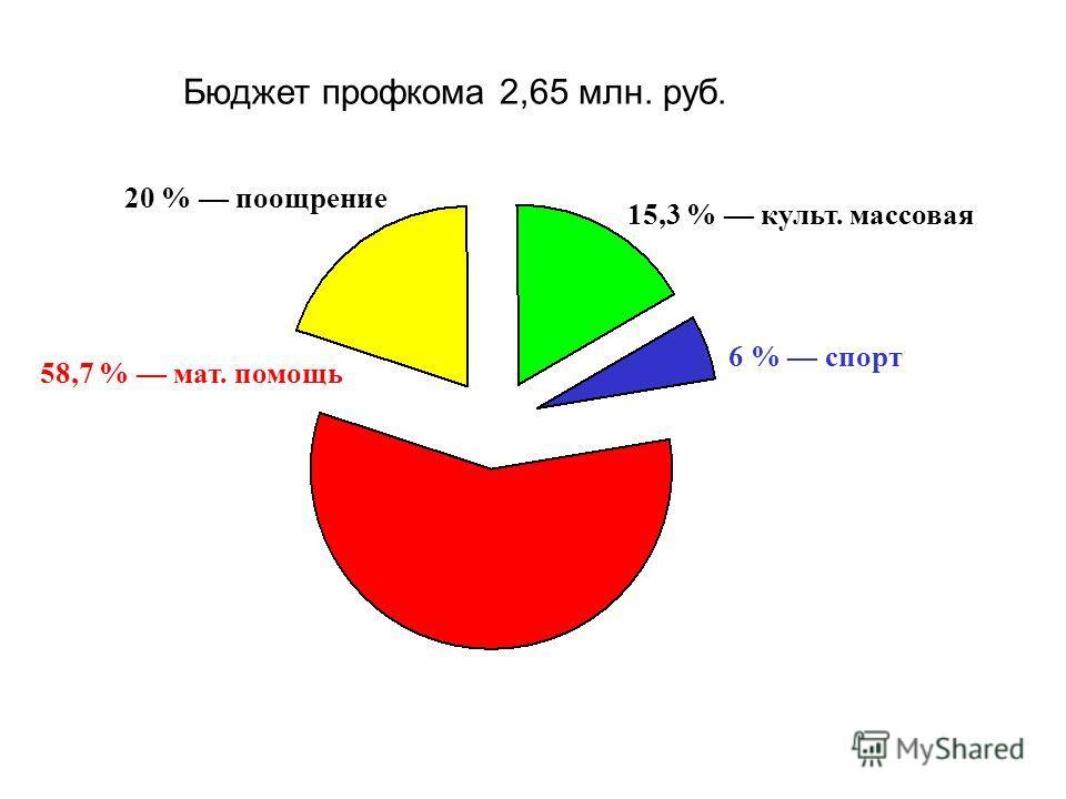 Бюджет профкома 2,65 млн. руб. 58,7 % мат. помощь 15,3 % культ. массовая 20 % поощрение 6 % спорт