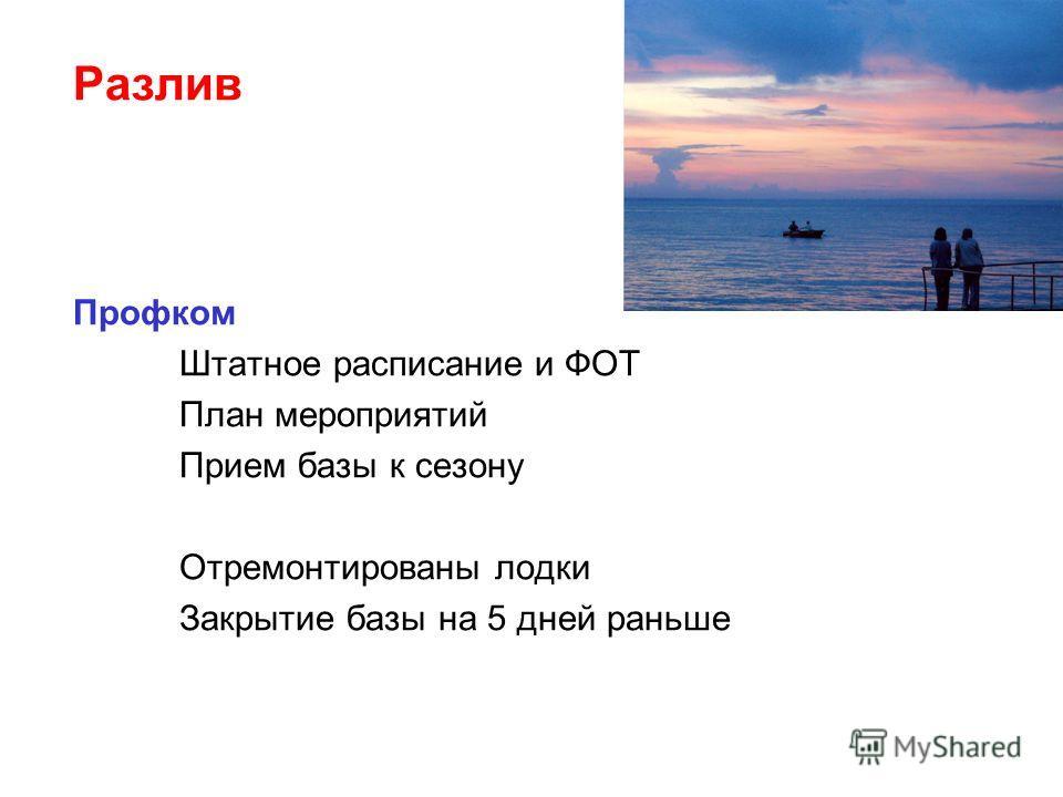 Разлив Профком Штатное расписание и ФОТ План мероприятий Прием базы к сезону Отремонтированы лодки Закрытие базы на 5 дней раньше