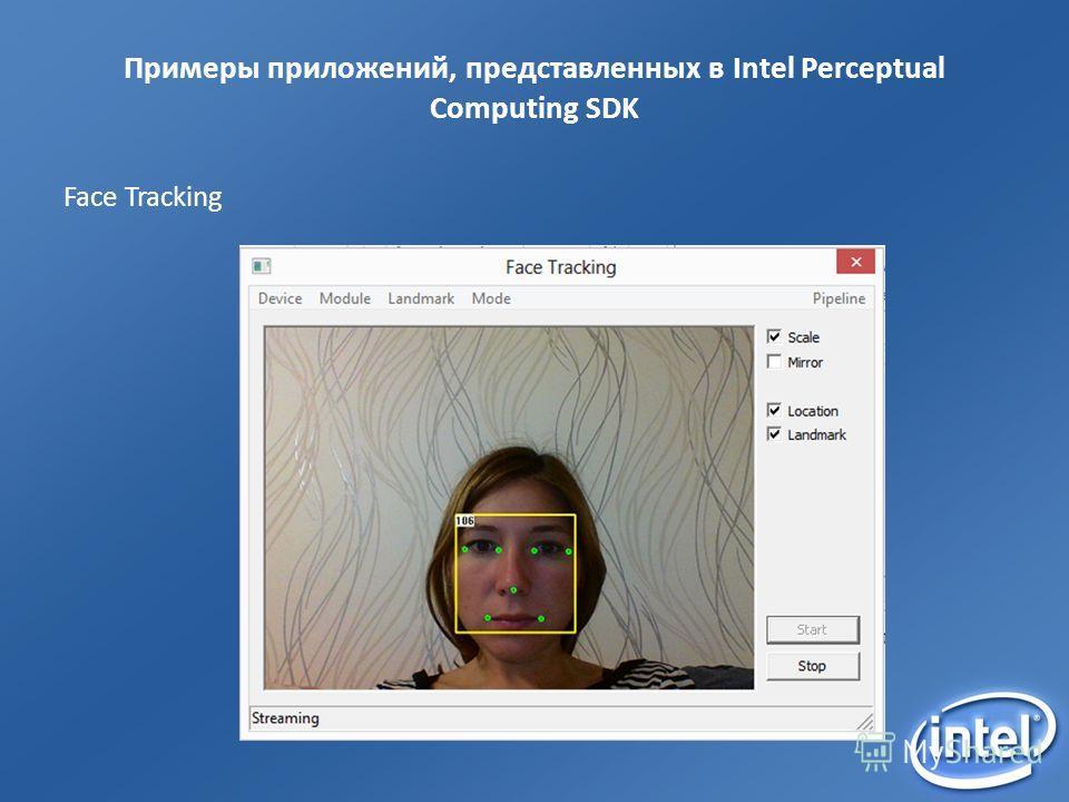 Примеры приложений, представленных в Intel Perceptual Computing SDK Face Tracking