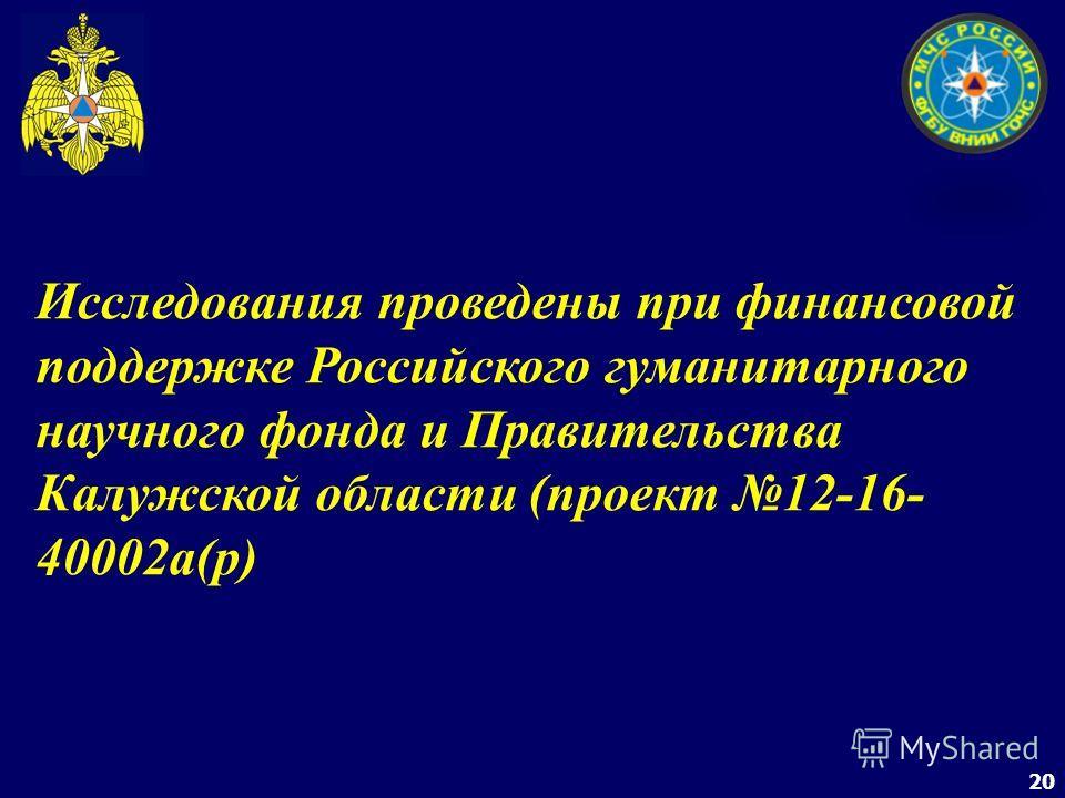 20 Исследования проведены при финансовой поддержке Российского гуманитарного научного фонда и Правительства Калужской области (проект 12-16- 40002а(р)