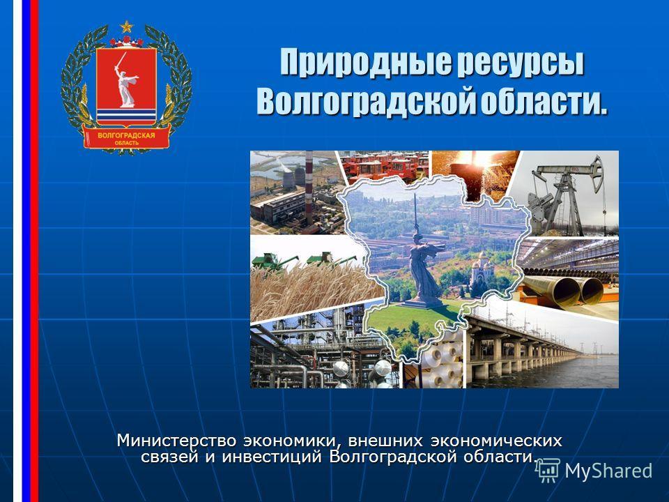 Природные ресурсы Волгоградской области. Министерство экономики, внешних экономических связей и инвестиций Волгоградской области.