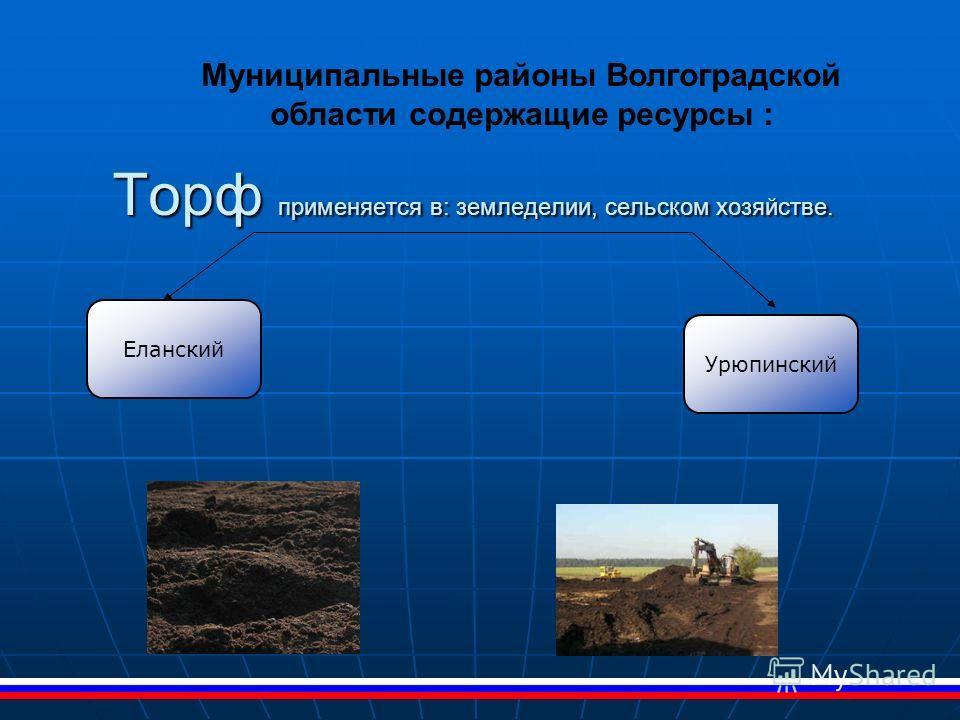 Торф применяется в: земледелии, сельском хозяйстве. Муниципальные районы Волгоградской области содержащие ресурсы : Еланский Урюпинский