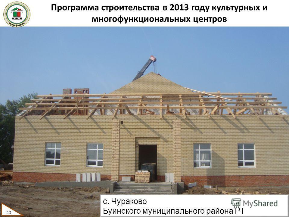 Программа строительства в 2013 году культурных и многофункциональных центров 40 с. Чураково Буинского муниципального района РТ 40