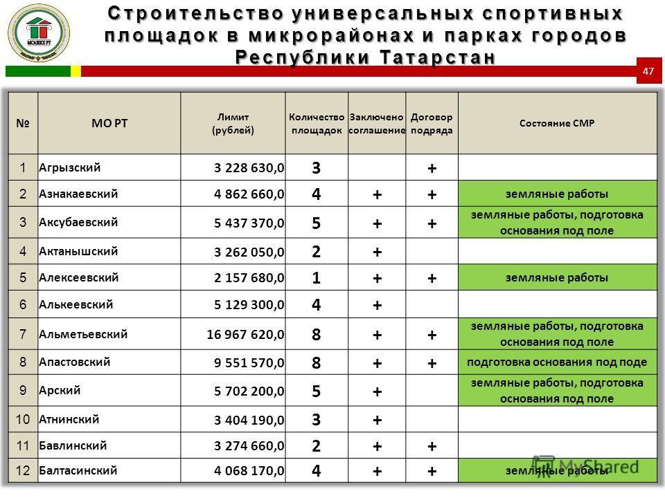 Строительство универсальных спортивных площадок в микрорайонах и парках городов Республики Татарстан 47
